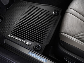 All-Weather floor mats with tub-style perimeter displaying the Lexus Logo and RC F name.