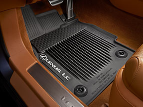 All-weather floor liners with tub-style perimeter displaying the Lexus Logo and LC name.