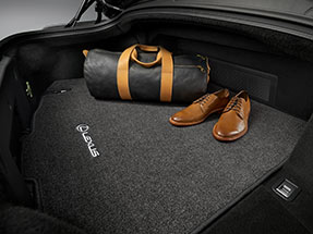 Carpet trunk mat within the rear cargo space of the 2020 LC.