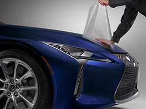 The available paint protection film by 3M shown on the 2020 LC in available Ultrasonic Blue Mica 2.0.
