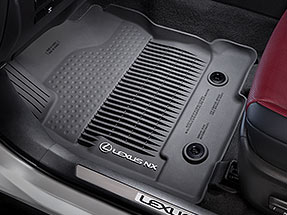 All-Weather floor liners with tub-style perimeter displaying the Lexus Logo and NX name.