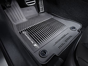 All-Weather floor liners with tub-style perimeter displaying the Lexus Logo and RC F name.