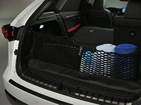 Cargo net is set up within the rear cargo space of the 2020 NX.