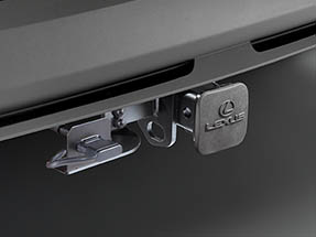 The available tow hitch receiver shown on the 2020 NX.