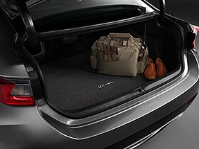 Carpet trunk mat within the rear cargo space of the 2020 RC F.