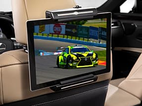 The available Lexus universal tablet holder shown on the 2020 NX.