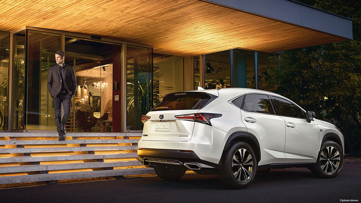 Exterior shot of the 2018 Lexus NX F Sport shown in Ultra White