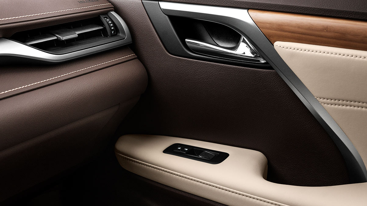 Interior shot of the 2019 Lexus RX shown with Semi-Aniline perforated leather trimmed interior
