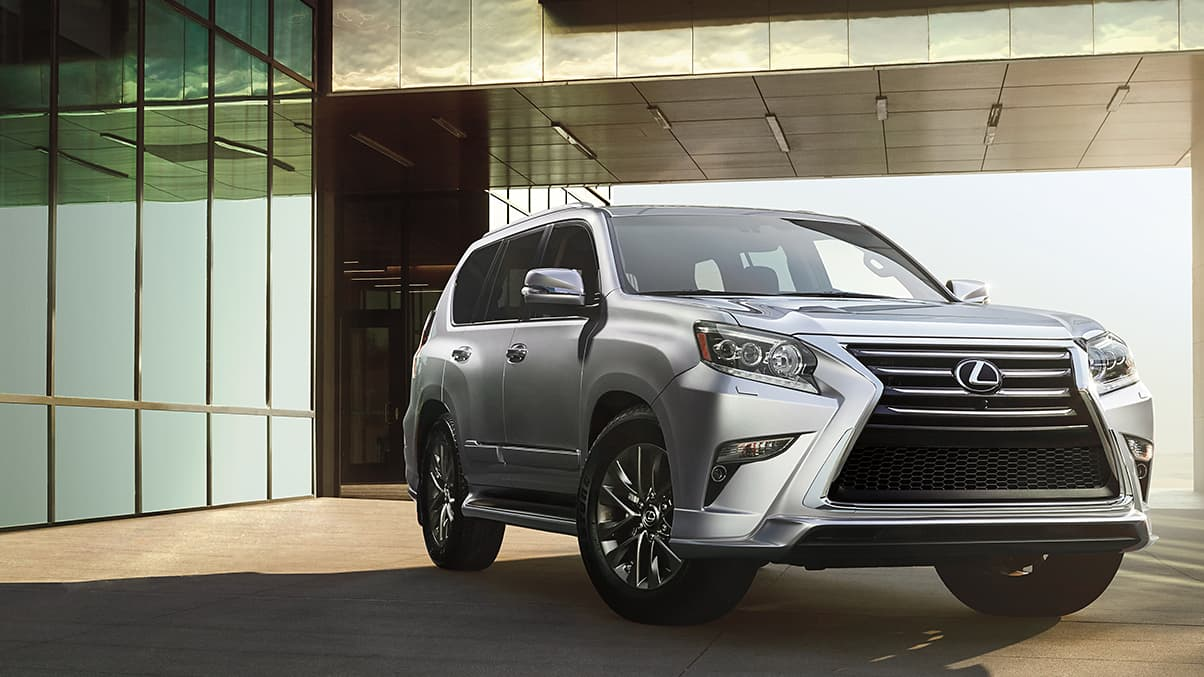 Exterior shot of a 2019 Lexus GX shown in Silver Lining Metallic.