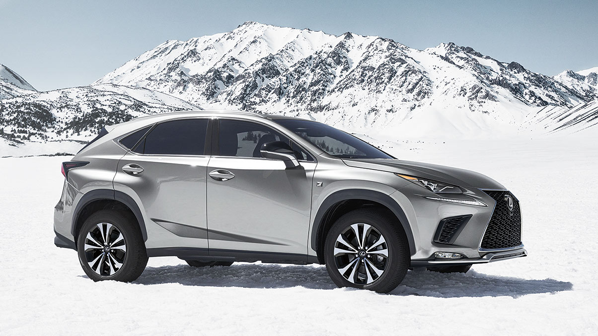 Exterior shot of the 2019 Lexus NX F Sport shown in Ultra White