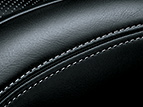 BLACK LEATHER INTERIOR TRIM WITH WHITE PERFORATIONS
