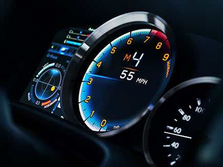 Interior of the Lexus GS F showing the dynamic gauge cluster.