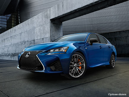 Exterior shot of the 2017 Lexus GS F shown in Ultrasonic Blue Mica 2.0.