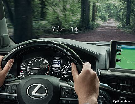 Interior shot of the 2018 Lexus LX color Heads-up Display .