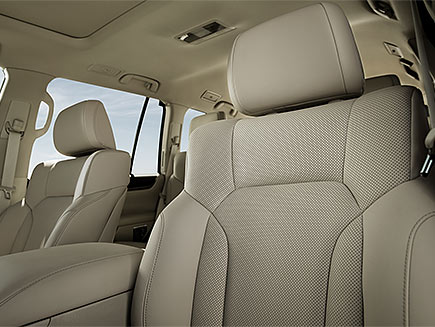 Interior shot of the 2018 Lexus LX with Parchment leather trim.