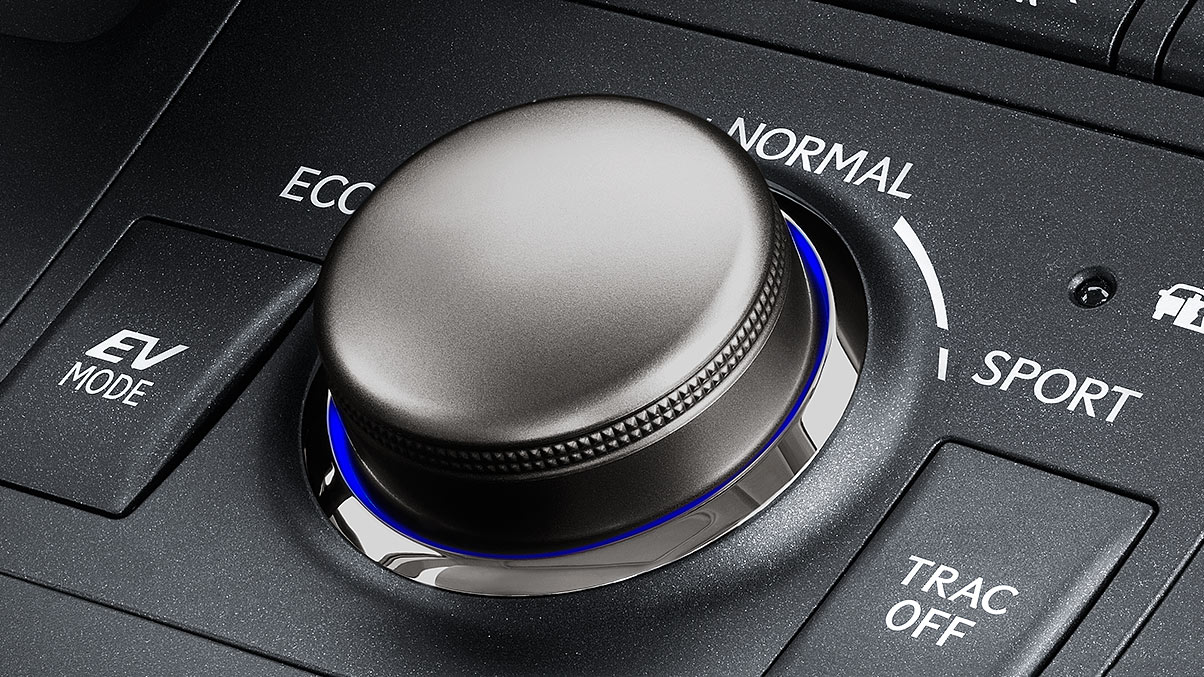 Interior shot of 2017 Lexus CT Drive Mode Select knob.