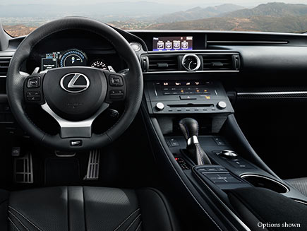 Interior shot of the 2018 Lexus RC F shown from the drivers point of view.