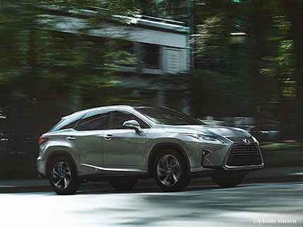 Exterior shot of the 2018 Lexus RX shown in Silver Lining Metallic
