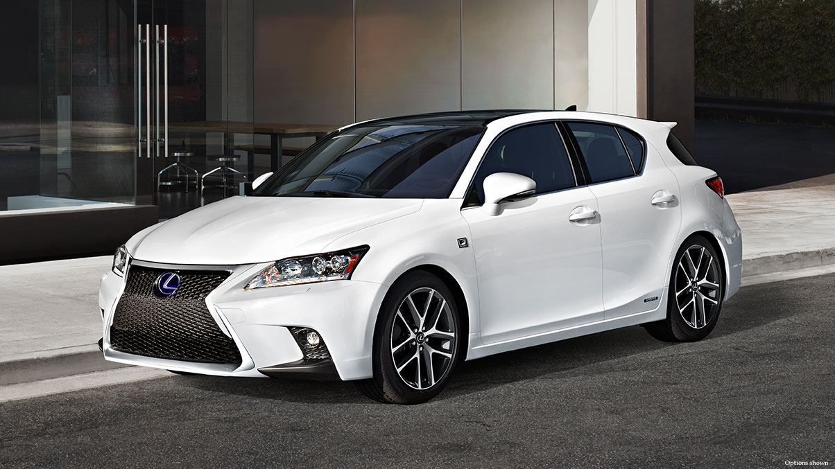 Exterior shot of the 2017 Lexus CT shown in Eminent White Pearl.