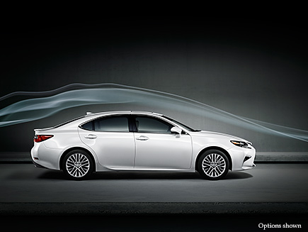 Exterior shot of the 2017 Lexus ES shown Eminent White Pearl.