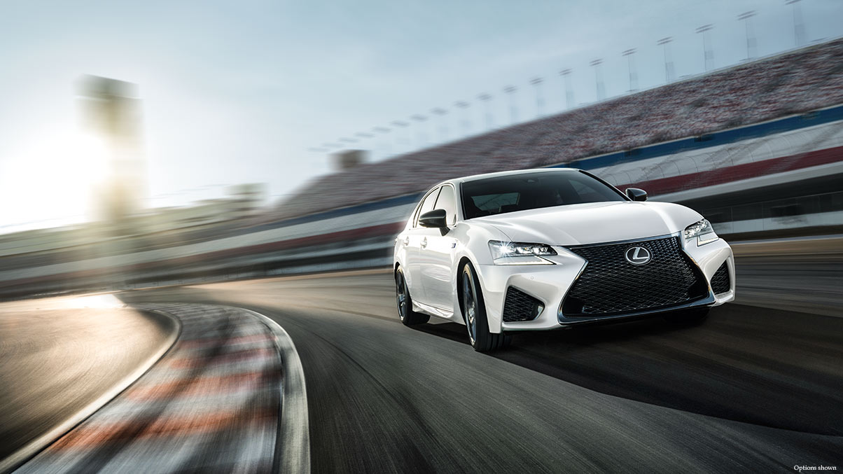 Exterior shot of the 2018 Lexus GS F shown in Ultra White.