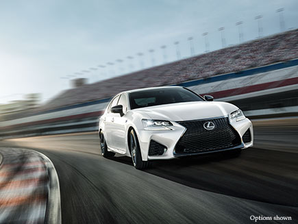 Exterior shot of the 2017 Lexus GS F shown in Ultra White.