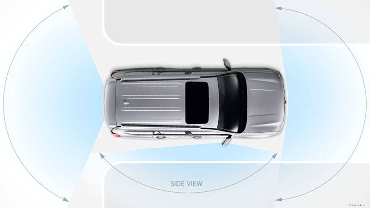 Wide-View Front and Side Monitor System.