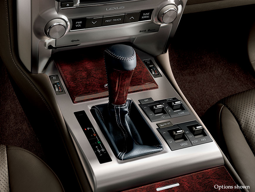 Interior shot of the 2017 Lexus GX center console.
