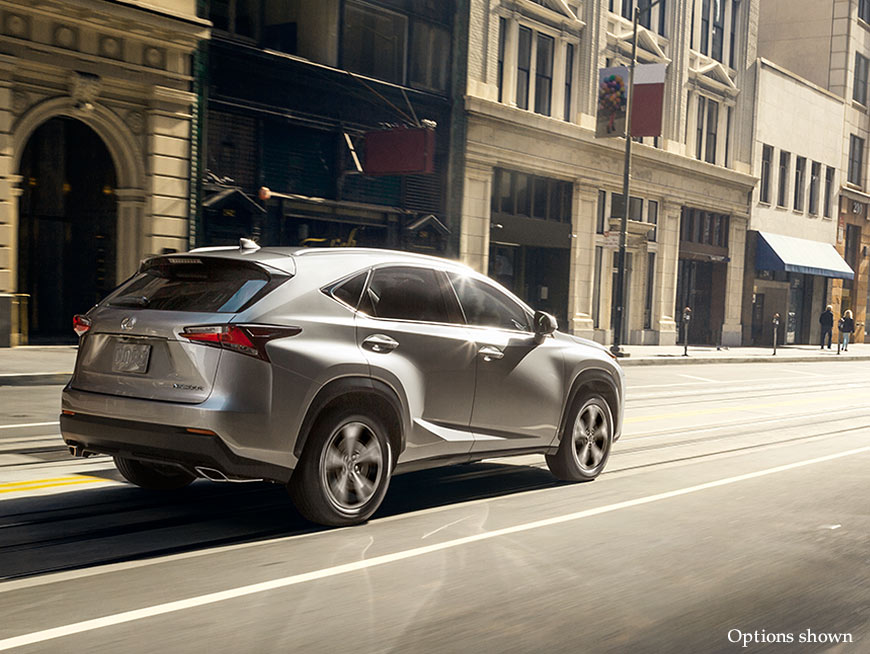 Exterior shot of the 2017 Lexus NX shown in Silver Lining Metallic