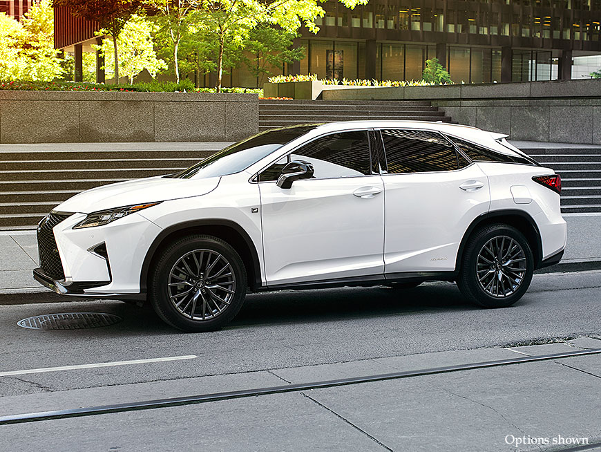 Exterior shot of the 2017 Lexus RX Hybrid shown in Ultra White