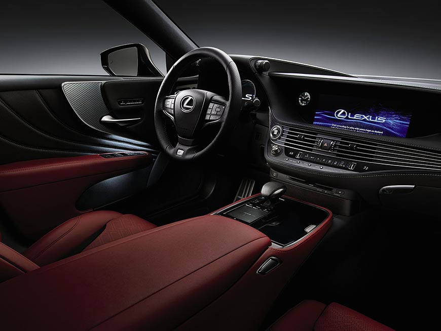 Interior of the Lexus LS F SPORT shown in Circuit Red leather with Naguri Aluminum trim.