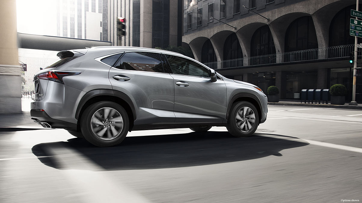 Exterior shot of the 2018 Lexus NX shown in Silver Lining Metallic