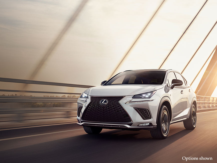 Exterior shot of the 2018 Lexus NX shown in Ultra White