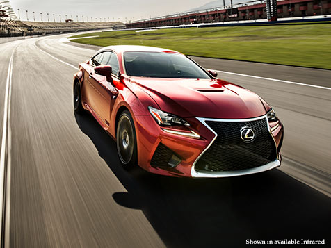 Exterior shot of the 2018 Lexus RC F shown in Molten Pearl