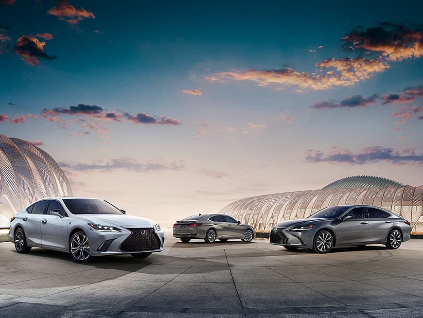 Exterior shot showing the Lexus ES, ES Hybrid and ES F SPORT.