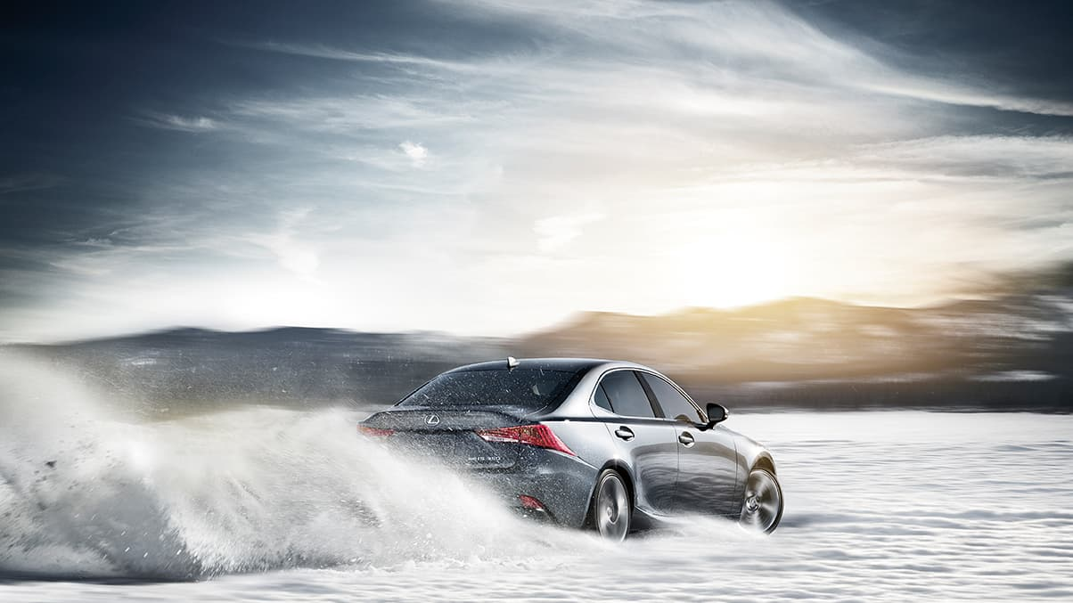 Exterior shot of the 2019 Lexus IS 300 shown in Nebula Gray Pearl.