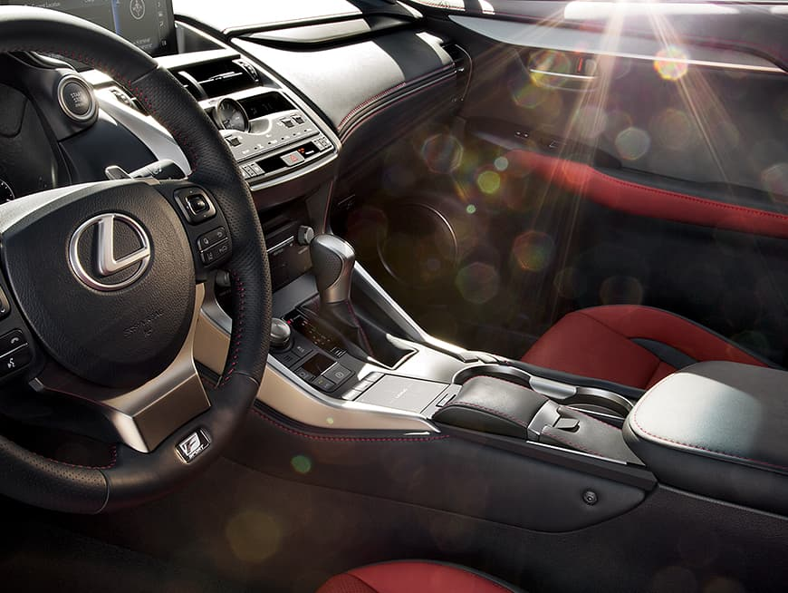 Interior shot of the 2019 Lexus NX shown with Circuit Red NuLuxe trim