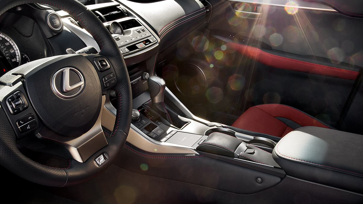 Interior shot of the NX F SPORT shown Circuit Red NuLuxe trim.