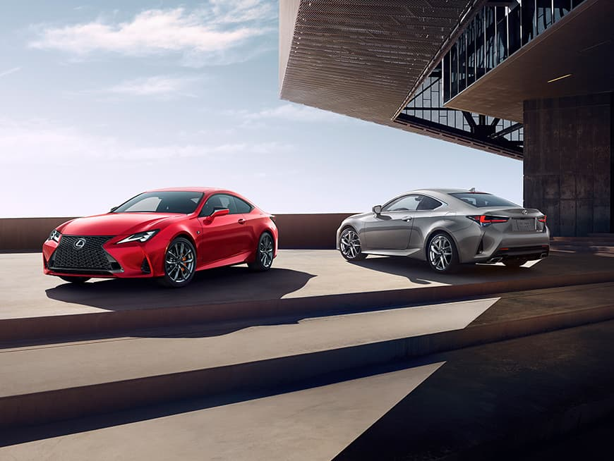 Lexus RC F SPORT shown in Infrared and RC shown in Atomic Silver.