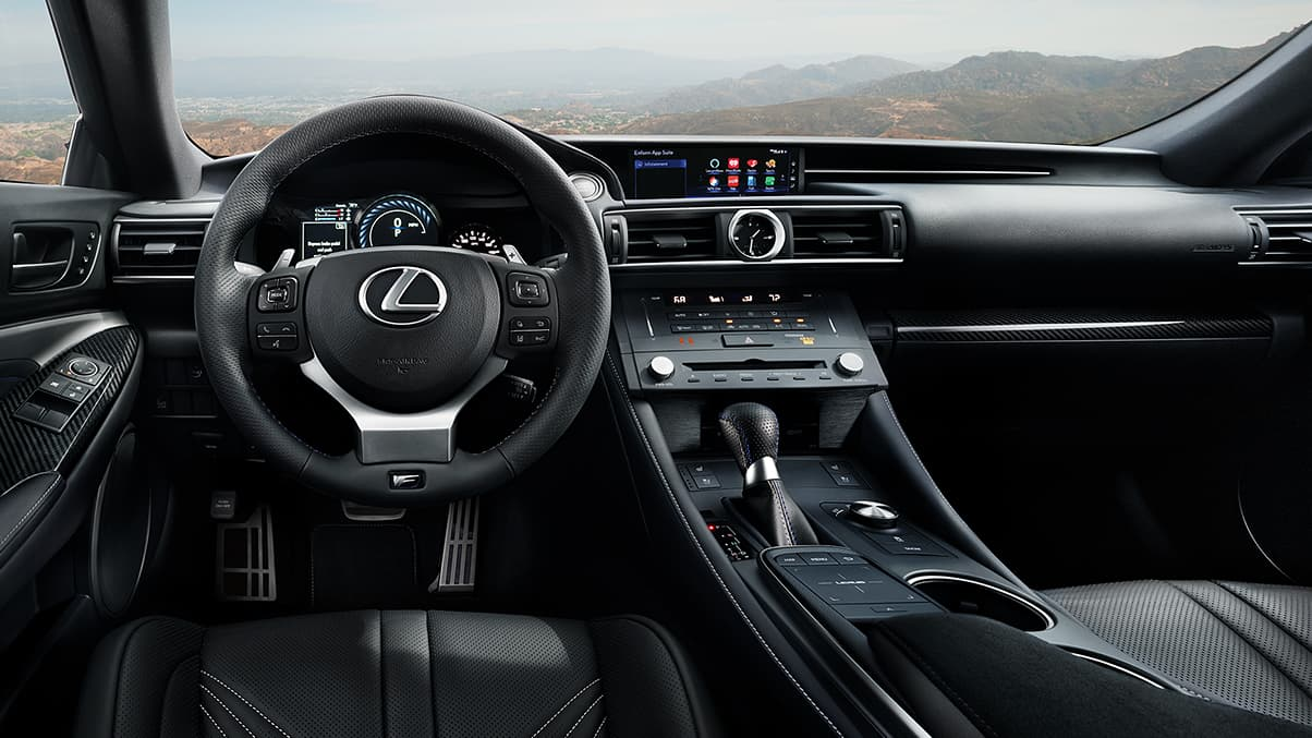 Interior shot of the 2019 Lexus RC F shown from the drivers point of view.