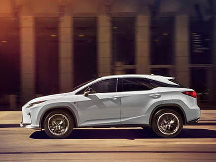 Exterior shot of the 2019 Lexus RX shown in Ultra White