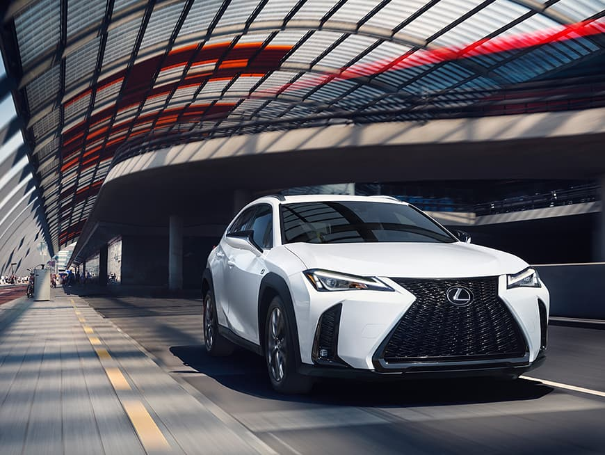Lexus UX F SPORT shown in Ultra White.