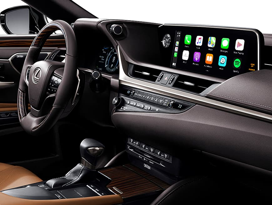 Interior of the Lexus ES Hybrid showing the 12.3-inch split-screen multimedia display.