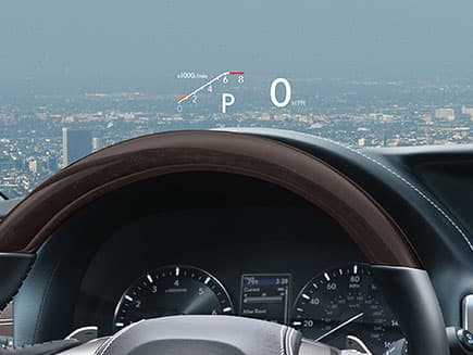 Color Head-Up display shown inside the Lexus GS.