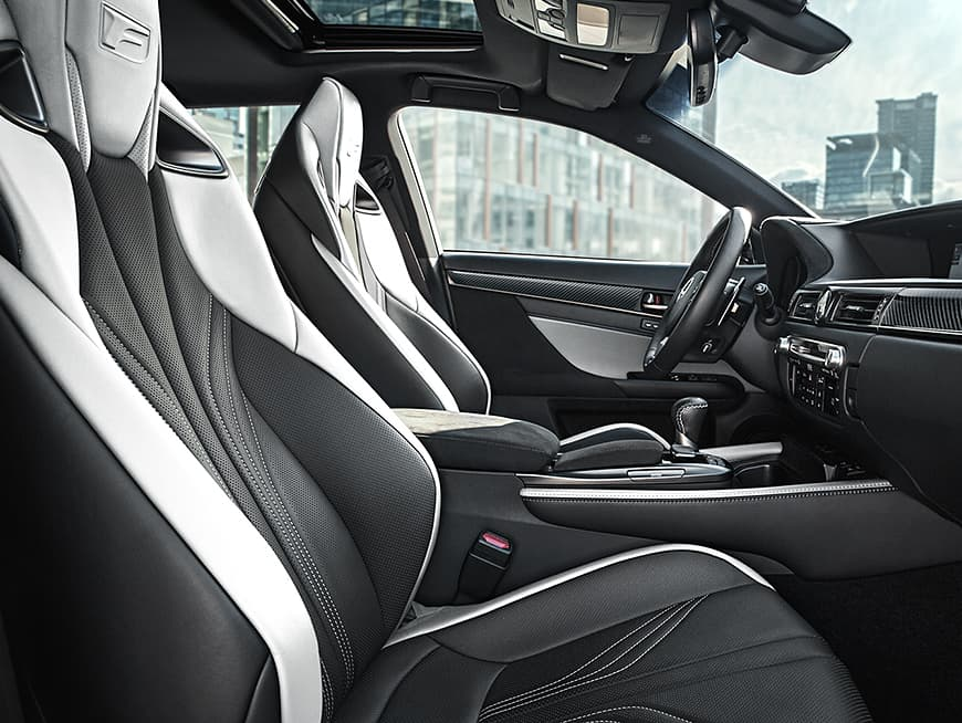 Interior of the Lexus GS F showing the driver-inspired cockpit.
