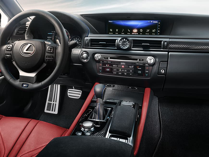Interior of the Lexus GS F showing the 12.3-inch split-screen multimedia display.