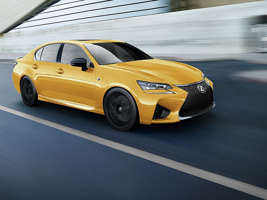 Lexus GS F shown in Flare Yellow.