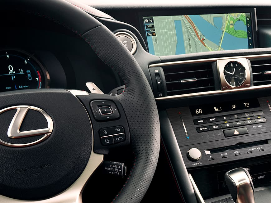 Interior of the Lexus IS showing the 10.3-inch multimedia display.
