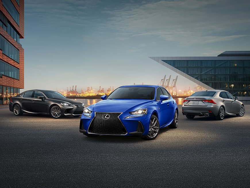 Lexus IS shown in Obsidian, Lexus IS F SPORT shown in Ultrasonic Blue Mica 2.0, and Lexus IS F SPORT shown in Nebula Gray Pearl.