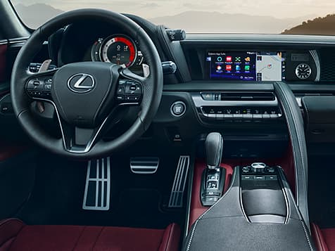 Interior shot of the LC 500 showing the driver-inspired cockpit.
